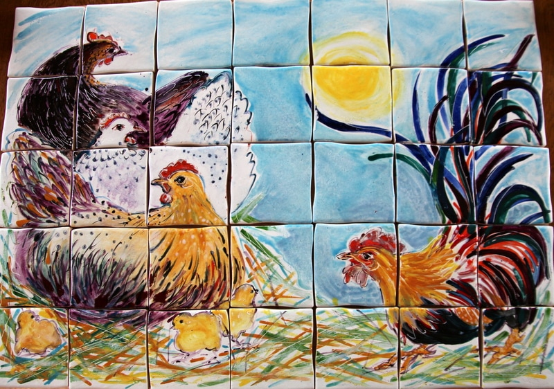 Cock and Hens Tile Panel